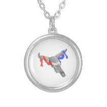 Western Style Cow Skull Patriotic Ribbon Silver Plated Necklace