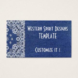 Western style Dark Blue Denim Biz Cards