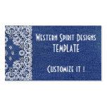 Western style Dark Blue Denim Biz Cards Double-Sided Standard Business Cards (Pack Of 100)