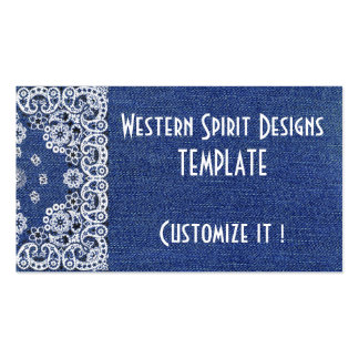 Western style Dark Blue Denim Biz Cards Double-Sided Standard Business Cards (Pack Of 100)