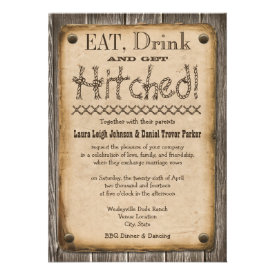 Western Style Eat, Drink and Get Hitched Wedding Custom Invite