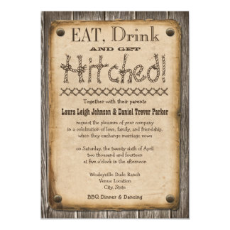"""Western Style Eat, Drink and Get Hitched Wedding 5"""" X 7"""" Invitation Card"""