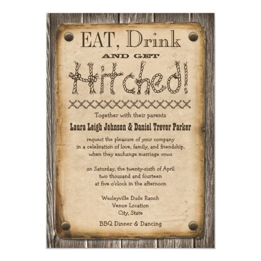 Hitched Wedding Invitations: Western Style Eat, Drink And Get Hitched Wedding
