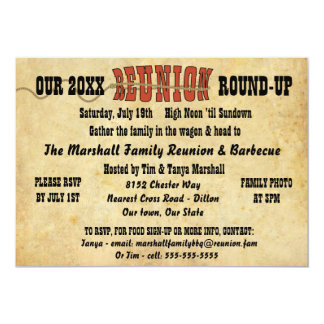 Western Style Faux Aged Parchment Reunion Card