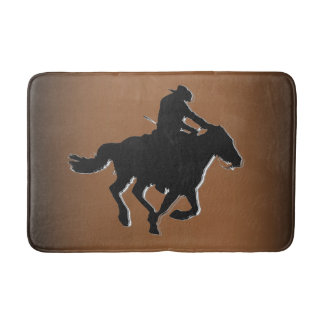 Western-style Galloping Horse and Cowboy Bath Mat