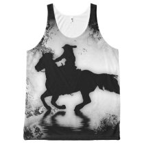 Western-style Galloping Horse and Rider All-Over-Print Tank Top