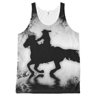 Western-style Galloping Horse and Rider All-Over Print Tank Top