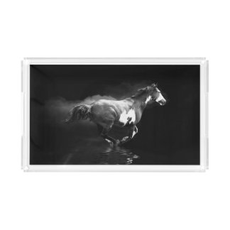 Western-style Galloping Pinto Horse and Smoke Acrylic Tray