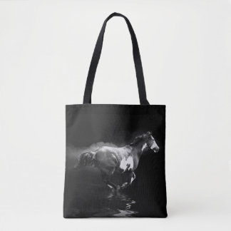 Western-style Galloping Pinto Horse and Smoke Tote Bag