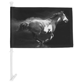 Western-style Galloping Pinto Horse and Smoke Car Flag