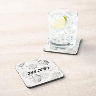 Western Style Monogram Aspen Leaves Drink Coasters