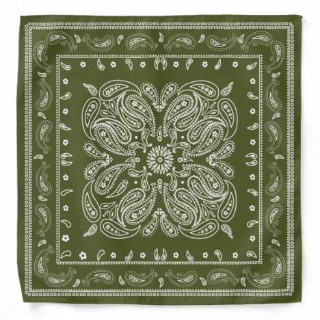 Western Style Olive Green and White Paisley Bandana