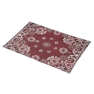 Western Style Red Bandana Dinnerware setting Placemats