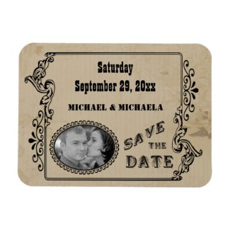Western Style Save The Date Photo Magnet premiumfleximagnet