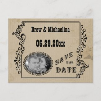 Western Style Save The Date Photo Post Card postcard