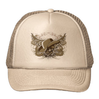 Western Style Sugar Skull With Eagle Wings Trucker Hat