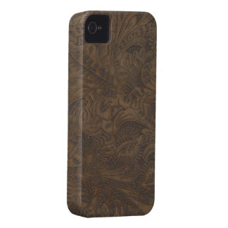 Western-style Tooled Leather-look iPhone 4 Case