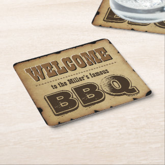 Western Style Welcome to our BBQ (customizable) Square Paper Coaster