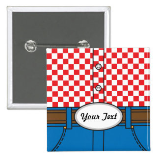 Western Style (with customizable belt buckle) Pinback Buttons