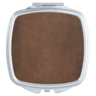 Western-styled Stitched-Leather-look Design Mirror For Makeup