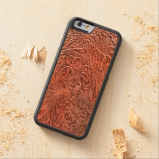 Western-styled Tooled-Leather-look on Wood Case