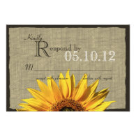 Western Sunflower and Burlap Wedding Response Announcements