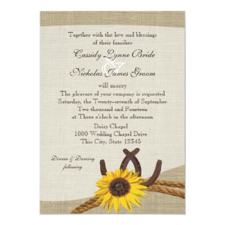 Western Sunflower and Horseshoes 5x7 Paper Invitation Card