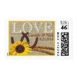 Western Sunflower and Horseshoes Love Postage Stamps