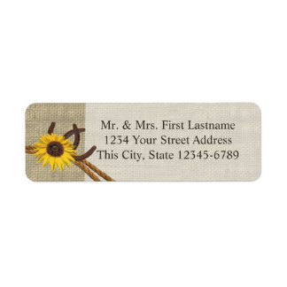 Western Sunflower and Horseshoes Return Address Label