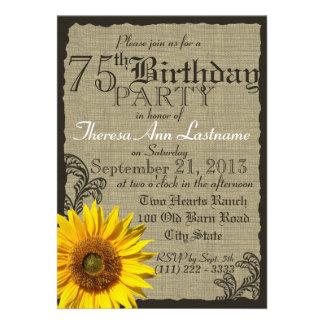 Western Sunflower Rustic 75th Birthday Invitation