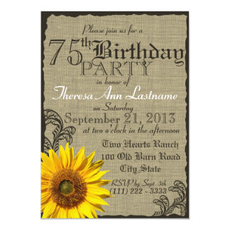 Western Sunflower Rustic 75th Birthday 5x7 Paper Invitation Card