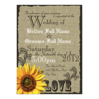 Western Sunflower Rustic Country Wedding 5.5x7.5 Paper Invitation Card