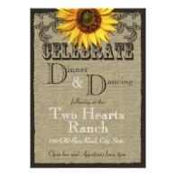 Western Sunflower Wedding Reception Invite