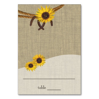 Western Sunflowers and Horseshoes Seating Card Table Card