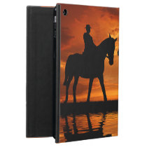 Western Sunset Horseback Riding cowboy silhouette Cover For iPad Air