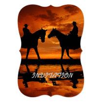 Western Sunset Horseback Riding cowboy silhouette Invitation