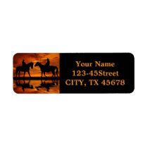 Western Sunset Horseback Riding cowboy silhouette Label