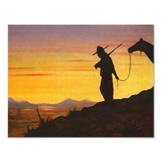 """WESTERN SUNSET SILHOUETTE RETIREMENT PARTY INVITE 4.25"""" X 5.5"""" INVITATION CARD"""