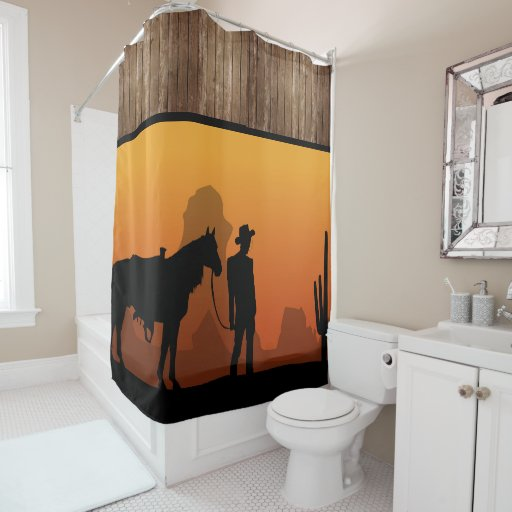 Western Sunset With Cowboy Shower Curtain Zazzle