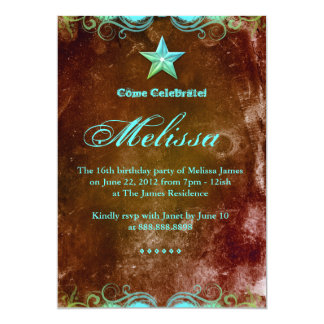 "Western Sweet 16 Invitation Blue Brown Star 5"" X 7"" Invitation Card"