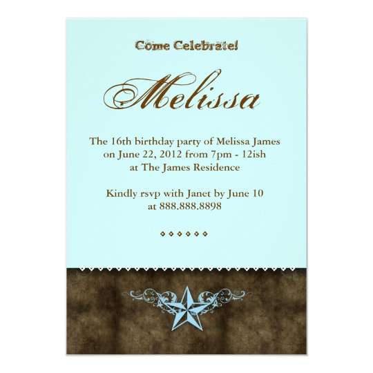 Western Sweet 16 Invitation Blue Star Brown