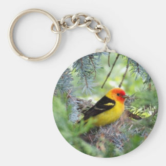 Western Tanager Basic Round Button Keychain