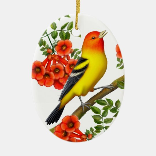 Western Tanager in Trumpet Vine Ornament