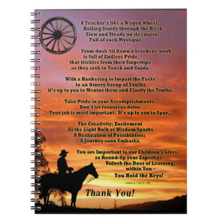 Western Teacher Appreciation Poem Notebook
