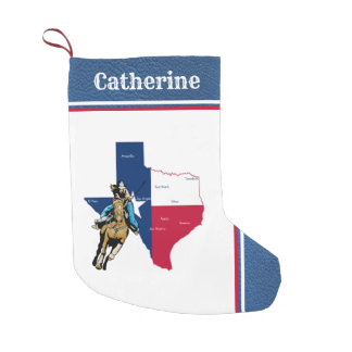 Western Texas Cowgirl On With  Horse Faux Leather Small Christmas Stocking