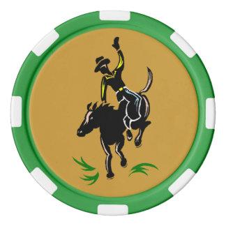 Western Texas Hold Em Cowboy Bronc Poker Chips
