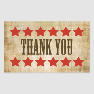 Western Thank You Stickers With Red Stars