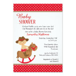 Western Theme Baby on Rocking Horse Baby Shower 5x7 Paper Invitation Card