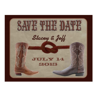"""Western theme """"save the date"""" postcard"""