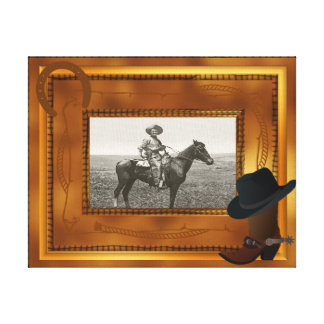 Western Theme with Boot & Hat Photo Template Canvas Print